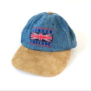 Vintage Denim and Suede London England Hat